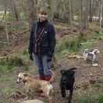 Joanna, Bali, Olvie & Maisie in the woods